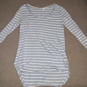 Blue and white stripe long sleeve tee shirt